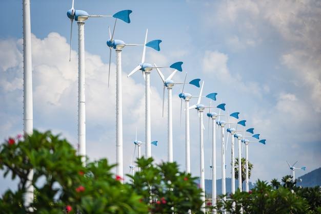Turbina de viento paisaje energía natural verde concepto de energía ecológica en turbinas eólicas granja colina Foto Premium