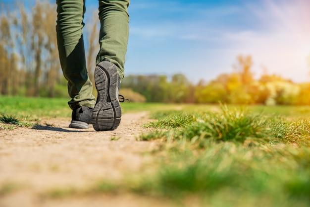 Turista caminando por una ruta de senderismo. copia espacio | Foto Premium