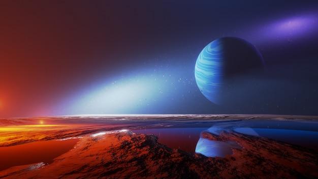 Universo y espacio, exploración de la superficie del planeta. Foto Premium