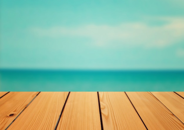 vaciar mesa de madera de mesa sobre fondo de mar concepto de verano foto gratis
