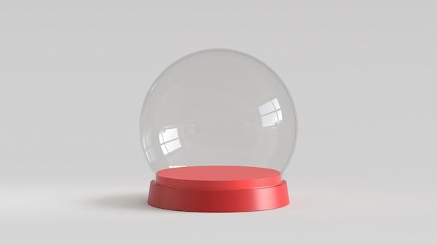 Vacie la bola de cristal de la nieve con la bandeja roja en el fondo blanco. representación 3d Foto Premium