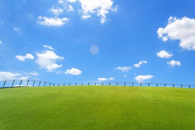 Valla de hierro en la hierba verde y cielo azul fondo de pantalla Foto Premium