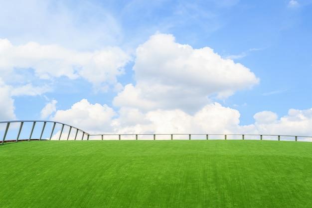 Valla de hierro en la hierba verde Foto Premium