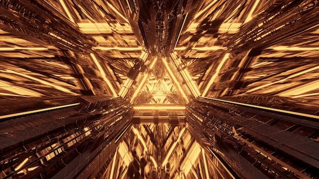 Varias luces que forman patrones triangulares y fluyen hacia adelante detrás de un fondo oscuro Foto gratis