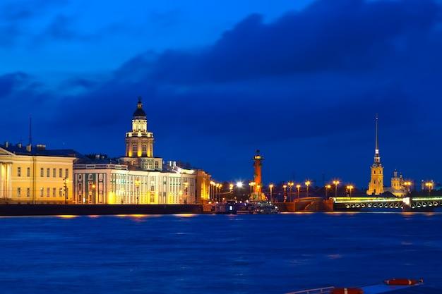 Vasilyevsky isla en la noche Foto gratis