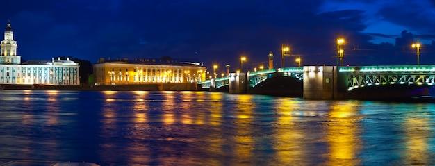 Vasilyevsky isla y el puente del palacio en la noche Foto gratis