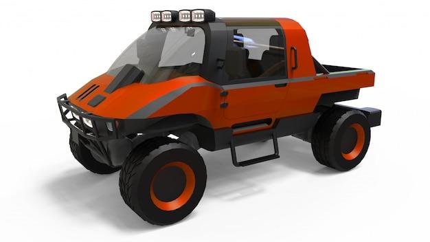 Vehículo especial todo terreno para terrenos difíciles y condiciones climáticas y de carreteras difíciles. Foto Premium