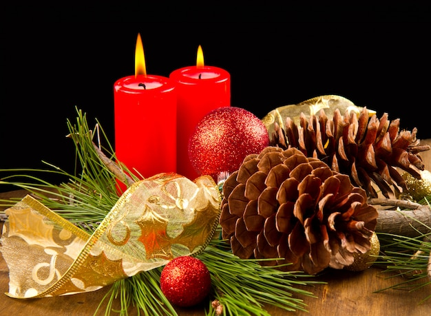 Vela navideña con piña Foto Premium