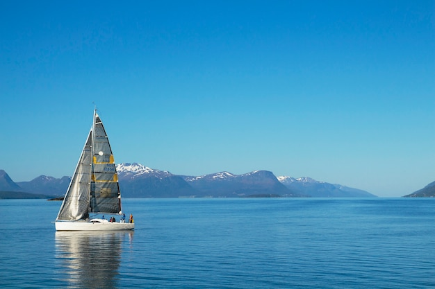 Veleros navegando, azul cielo nublado y velas blancas molde noruega, europa Foto Premium
