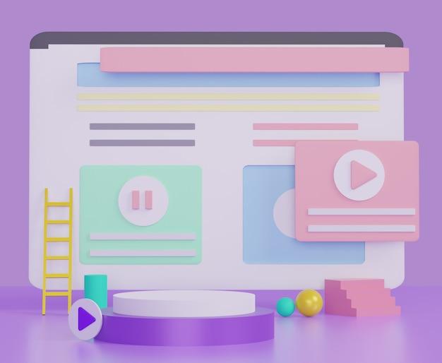 Ventana del navegador, red social o diseño de página web para ideas creativas o negocios. sitio web minimalista moderno con tema colorido pastel. Foto Premium
