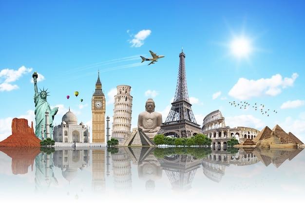 Viaja por el mundo concepto de monumentos Foto Premium