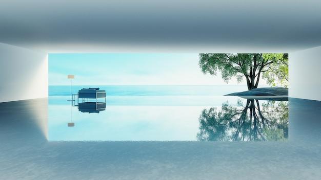 Vida en la playa: vista al mar y al mar de la villa del océano para vacaciones y verano / renderizado 3d Foto Premium