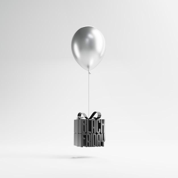Viernes negro en caja de regalo envuelta con globo Foto Premium