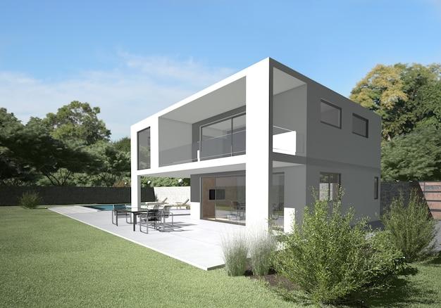 Villa moderna con terraza y jardín Foto Premium