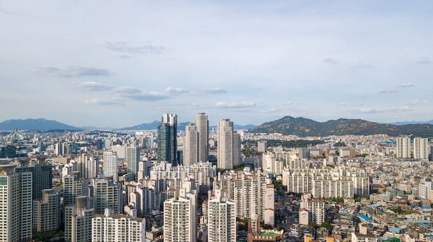 Vista aérea de la ciudad de seúl Foto Premium