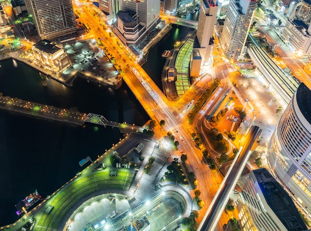 Vista aérea de la ciudad de yokohama Foto Premium