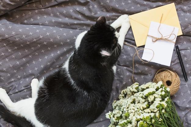 Una vista aérea del gato sentado cerca de las tarjetas de felicitación; carrete de hilo; pluma y ramo de flores en ropa gris Foto gratis