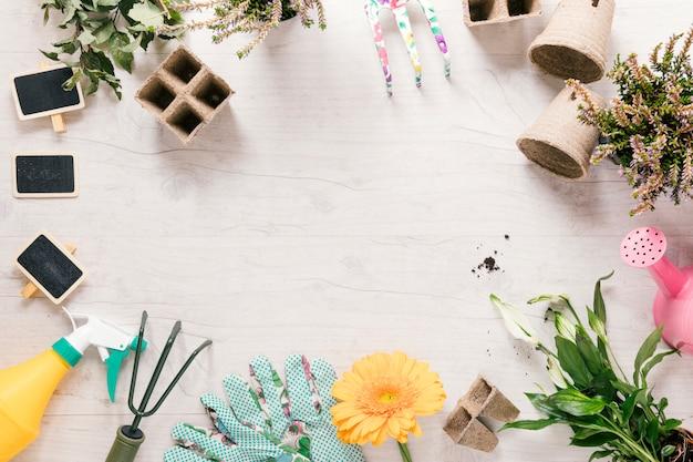 Vista de ángulo alto de la planta; guante de jardineria flor; rastrillo; rociador; regadera; bandeja de turba y estaca en escritorio de madera. Foto gratis