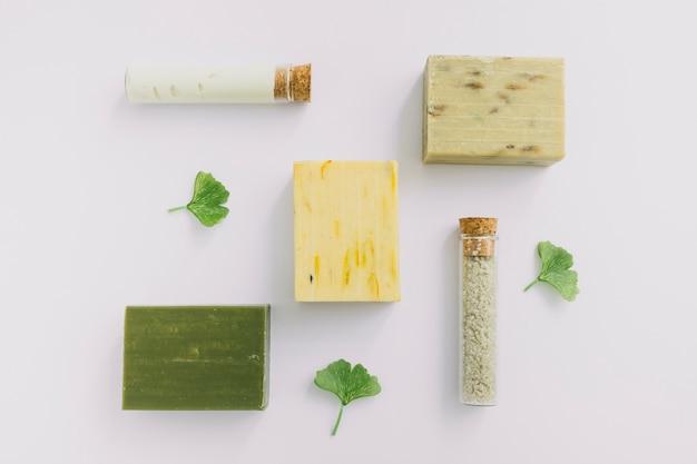 Vista de ángulo alto de productos cosméticos y hojas de gingko sobre superficie blanca Foto gratis