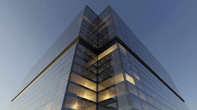 Vista de ángulo bajo de rascacielos genéricos de oficinas modernas, edificios de gran altura con fachadas de vidrio. conceptos de finanzas y antecedentes económicos. representación 3d. Foto Premium