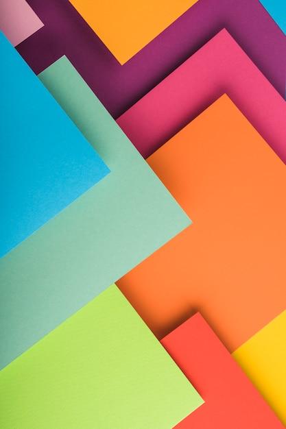 Vista desde arriba de folios de colores Foto Premium