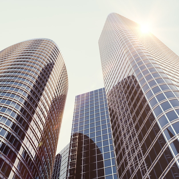 Vista del edificio de cristal, edificio de gran altura. Foto Premium