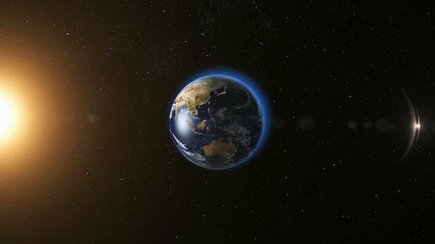 Vista del espacio en el planeta tierra y el sol en el universo Foto Premium