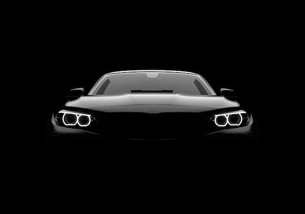 Vista frontal de un coche moderno genérico y sin marca. Foto Premium