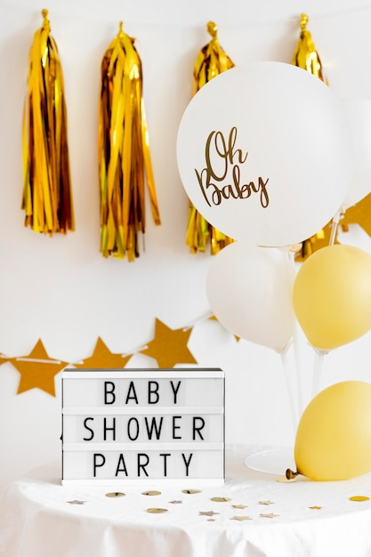 Vista frontal del hermoso concepto de baby shower Foto gratis