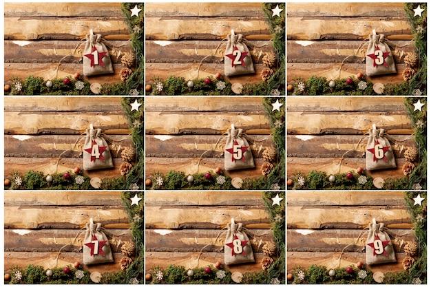 Vista frontal repleta de números para el concepto de calendario de adviento Foto gratis