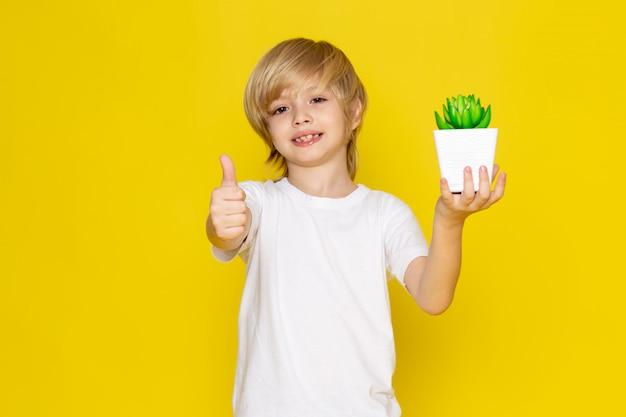 Vista frontal rubio niño sonriente adorable con pequeña planta verde en el escritorio amarillo Foto gratis