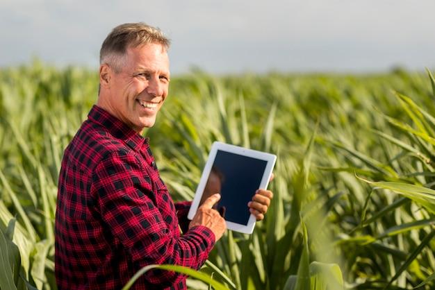 Vista lateral del hombre con una tableta en una maqueta de campo de maíz Foto gratis