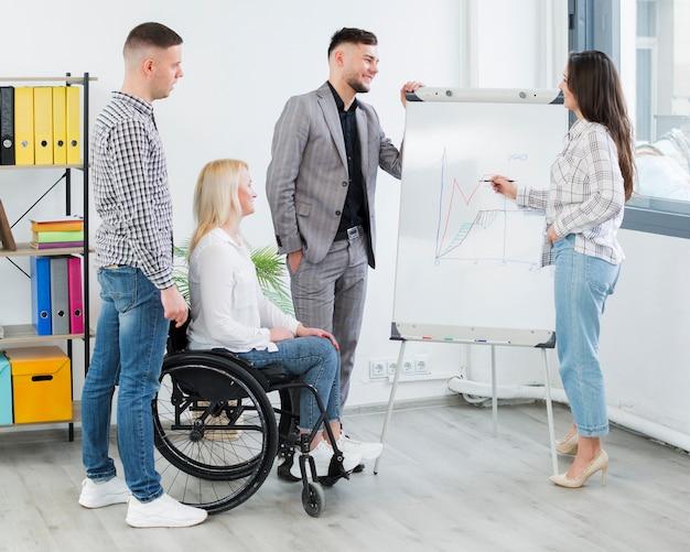 Vista lateral de la mujer en silla de ruedas que asiste a la presentación en el trabajo Foto gratis