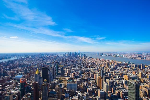 Vista de manhattan desde el empire state building, nueva york Foto Premium