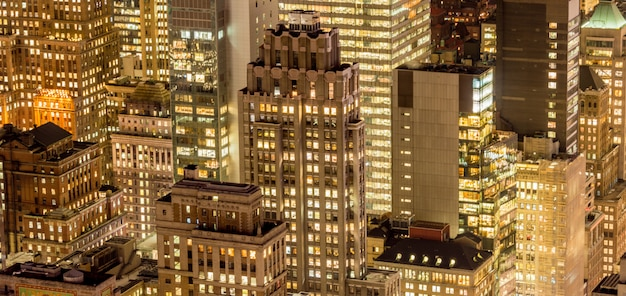 Vista de manhattan de nueva york durante las horas del atardecer Foto Premium