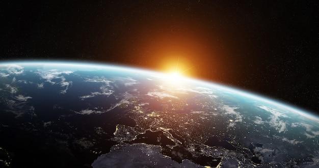 Vista del planeta tierra azul en el espacio. | Foto Premium