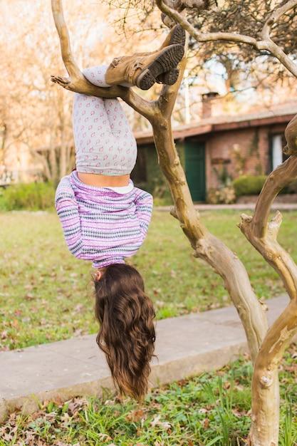 Vista posterior de la niña colgando boca abajo sobre su pierna sobre la rama de un árbol Foto gratis