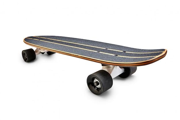 Vista posterior de una tabla de skate negra y de madera aislada Foto Premium