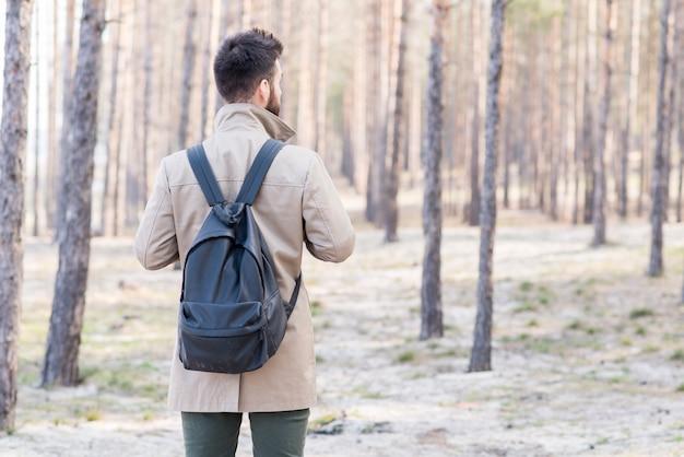 Vista posterior de un viajero masculino con su mochila mirando en el bosque Foto gratis