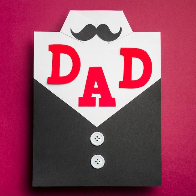 Vista superior del concepto del día del padre con bigote Foto gratis