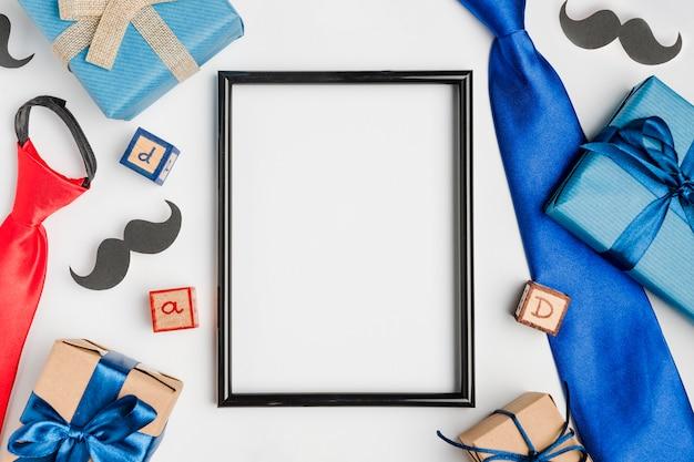 Vista superior del concepto del día del padre sobre la mesa Foto Premium