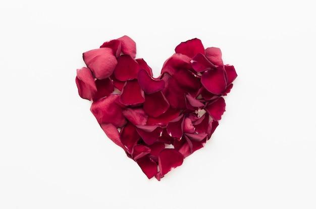 Vista superior corazón hecho de pétalos de flores Foto gratis