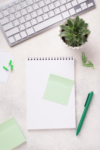 Vista superior del cuaderno en el escritorio con planta suculenta y teclado Foto gratis