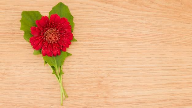 Vista superior flores sobre fondo de madera con copy space Foto gratis