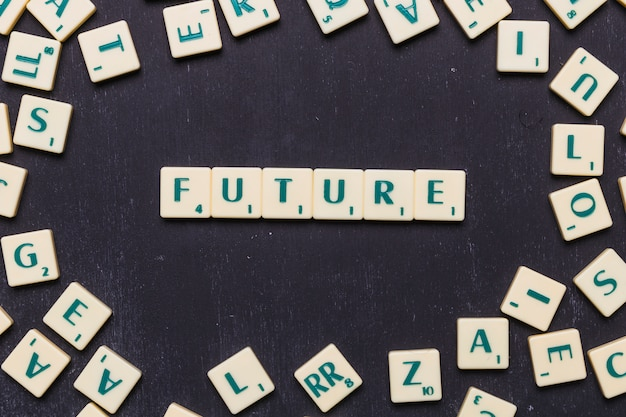 Vista superior del futuro texto hecho a partir de cartas del juego scrabble Foto gratis