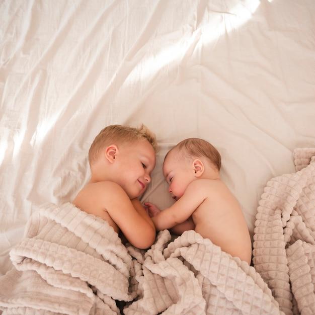 Vista superior de hermanos felices en el interior Foto gratis