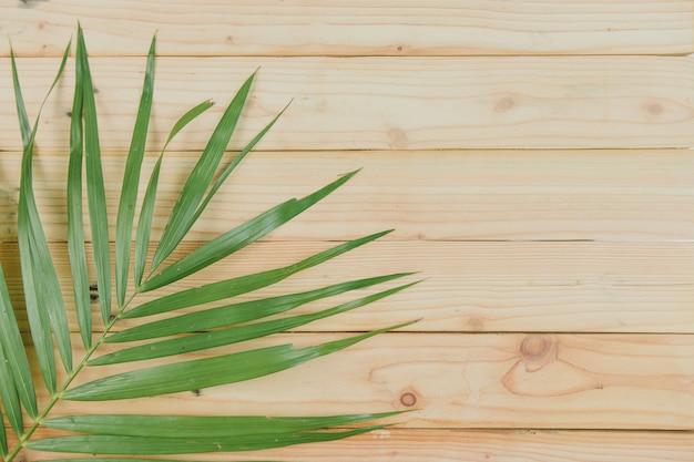 Vista superior de las hojas de coco sobre fondo de madera Foto Premium
