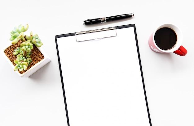 Vista superior de papel en blanco Foto Premium