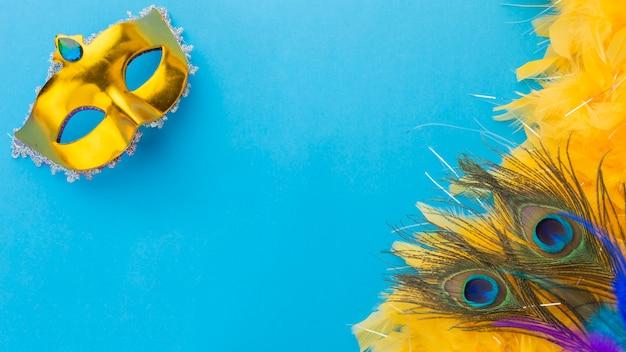 Vista superior de plumas de pavo real con máscara Foto Premium