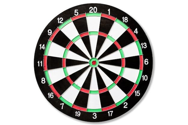 Vista superior del tablero de dardos target. objetivo del negocio o éxito de la meta Foto Premium